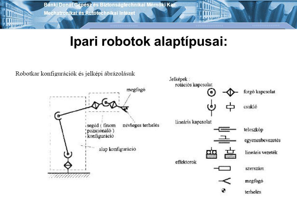 Ipari robotok alaptípusai: Bánki Donát Gépész és Biztonságtechnikai Mérnöki Kar Mechatronikai és Autótechnikai Intézet
