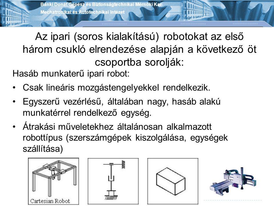 Az ipari (soros kialakítású) robotokat az első három csukló elrendezése alapján a következő öt csoportba sorolják: Hasáb munkaterű ipari robot: Csak l