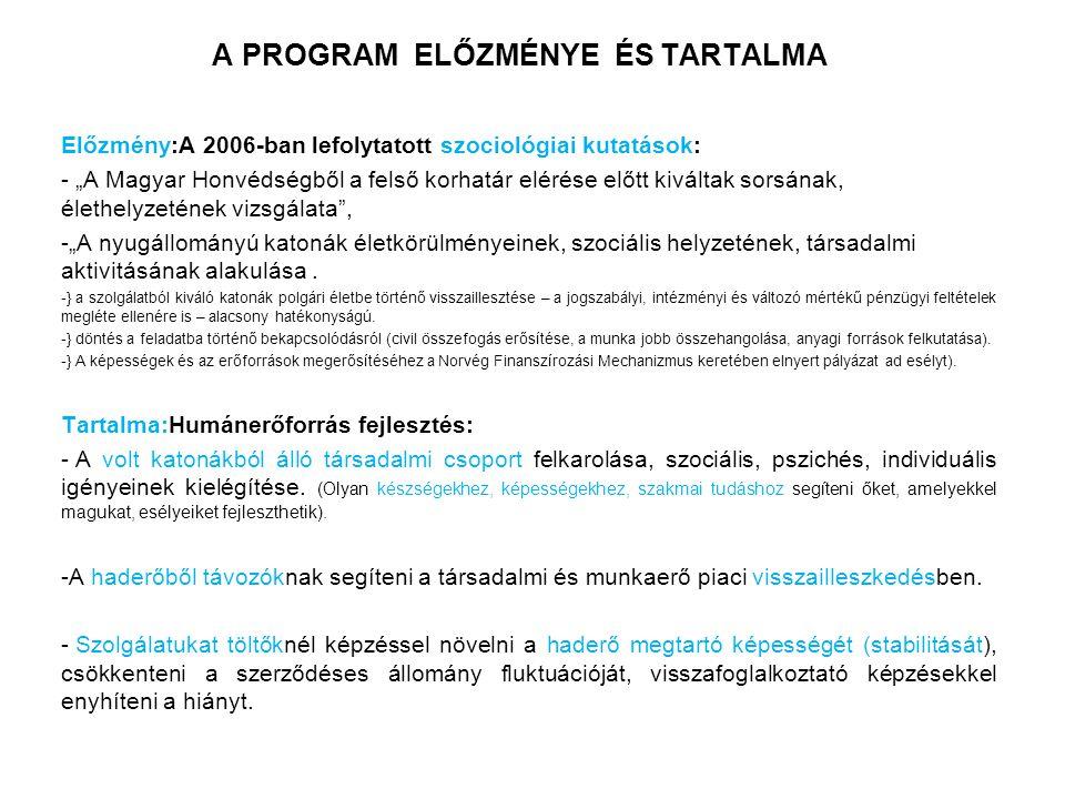 """A PROGRAM ELŐZMÉNYE ÉS TARTALMA Előzmény:A 2006-ban lefolytatott szociológiai kutatások: - """"A Magyar Honvédségből a felső korhatár elérése előtt kiváltak sorsának, élethelyzetének vizsgálata , -""""A nyugállományú katonák életkörülményeinek, szociális helyzetének, társadalmi aktivitásának alakulása."""
