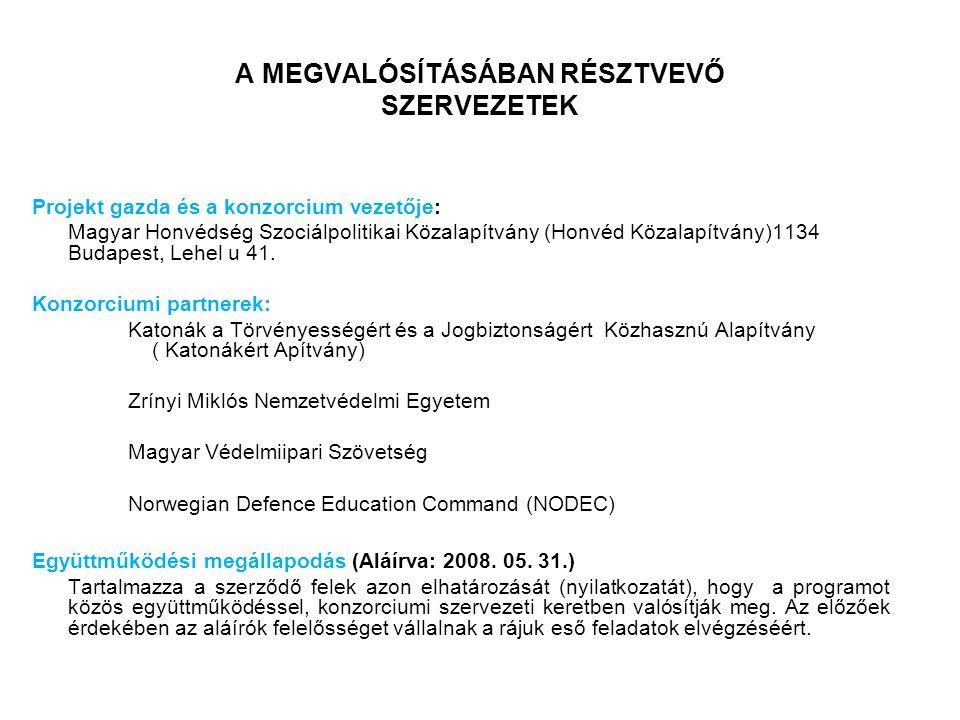 A MEGVALÓSÍTÁSÁBAN RÉSZTVEVŐ SZERVEZETEK Projekt gazda és a konzorcium vezetője: Magyar Honvédség Szociálpolitikai Közalapítvány (Honvéd Közalapítvány)1134 Budapest, Lehel u 41.