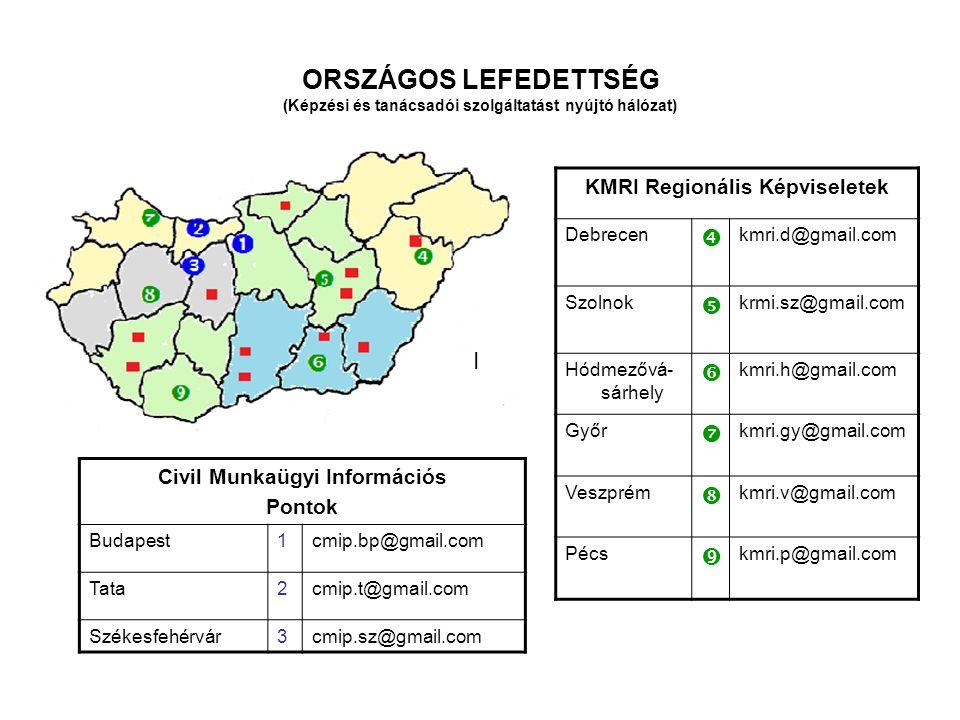 ORSZÁGOS LEFEDETTSÉG (Képzési és tanácsadói szolgáltatást nyújtó hálózat) KMRI Regionális Képviseletek Debrecen  kmri.d@gmail.com Szolnok  krmi.sz@gmail.com Hódmezővá- sárhely  kmri.h@gmail.com Győr  kmri.gy@gmail.com Veszprém  kmri.v@gmail.com Pécs  kmri.p@gmail.com I Civil Munkaügyi Információs Pontok Budapest1cmip.bp@gmail.com Tata2cmip.t@gmail.com Székesfehérvár3cmip.sz@gmail.com