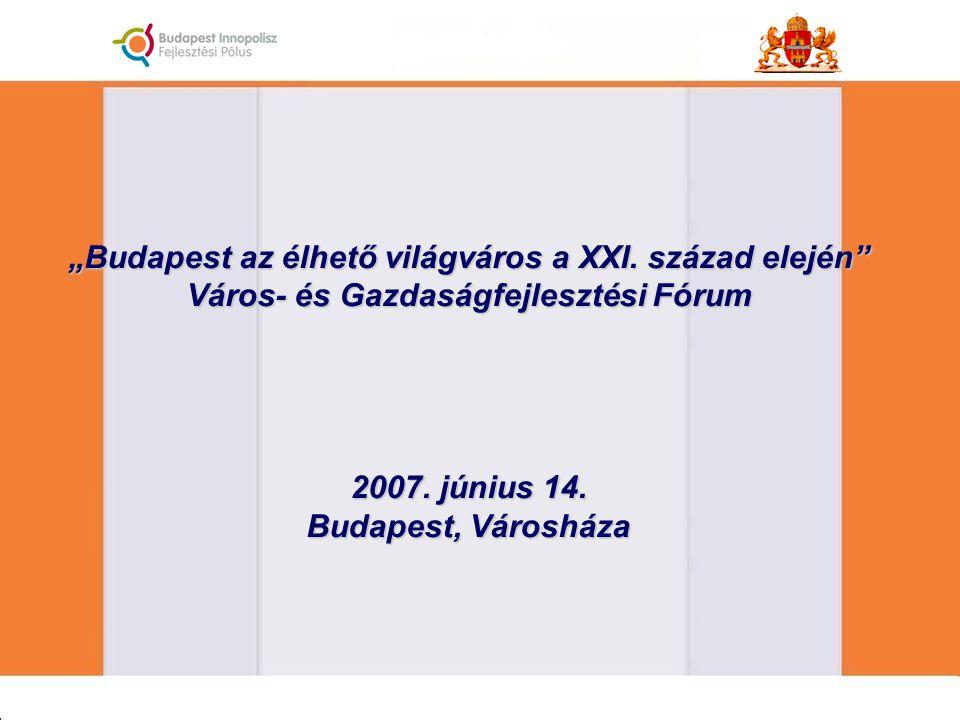 """""""Budapest az élhető világváros a XXI. század elején"""" Város- és Gazdaságfejlesztési Fórum 2007. június 14. Budapest, Városháza"""