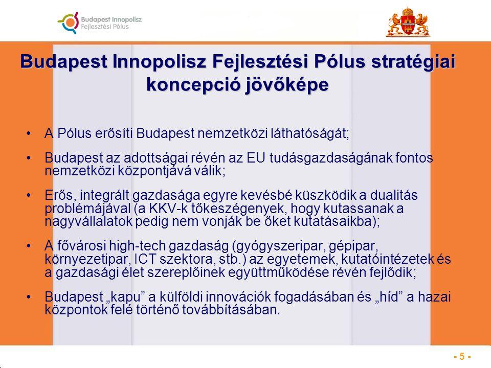 """Budapest Innopolisz Fejlesztési Pólus stratégiai koncepció jövőképe A Pólus erősíti Budapest nemzetközi láthatóságát; Budapest az adottságai révén az EU tudásgazdaságának fontos nemzetközi központjává válik; Erős, integrált gazdasága egyre kevésbé küszködik a dualitás problémájával (a KKV-k tőkeszégenyek, hogy kutassanak a nagyvállalatok pedig nem vonják be őket kutatásaikba); A fővárosi high-tech gazdaság (gyógyszeripar, gépipar, környezetipar, ICT szektora, stb.) az egyetemek, kutatóintézetek és a gazdasági élet szereplőinek együttműködése révén fejlődik; Budapest """"kapu a külföldi innovációk fogadásában és """"híd a hazai központok felé történő továbbításában."""