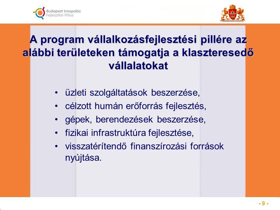 A program vállalkozásfejlesztési pillére az alábbi területeken támogatja a klaszteresedő vállalatokat üzleti szolgáltatások beszerzése, célzott humán erőforrás fejlesztés, gépek, berendezések beszerzése, fizikai infrastruktúra fejlesztése, visszatérítendő finanszírozási források nyújtása.