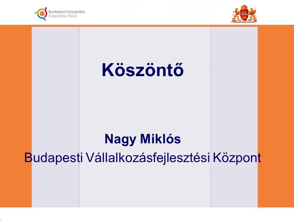 Köszöntő Nagy Miklós Budapesti Vállalkozásfejlesztési Központ
