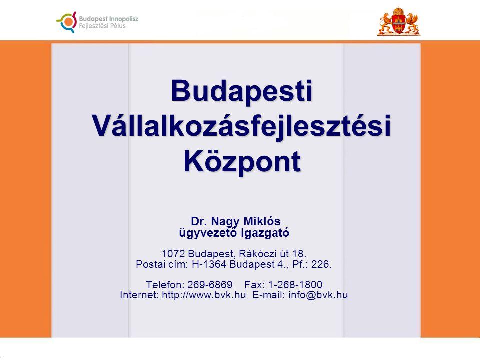 Dr. Nagy Miklós ügyvezető igazgató 1072 Budapest, Rákóczi út 18. Postai cím: H-1364 Budapest 4., Pf.: 226. Telefon: 269-6869 Fax: 1-268-1800 Internet: