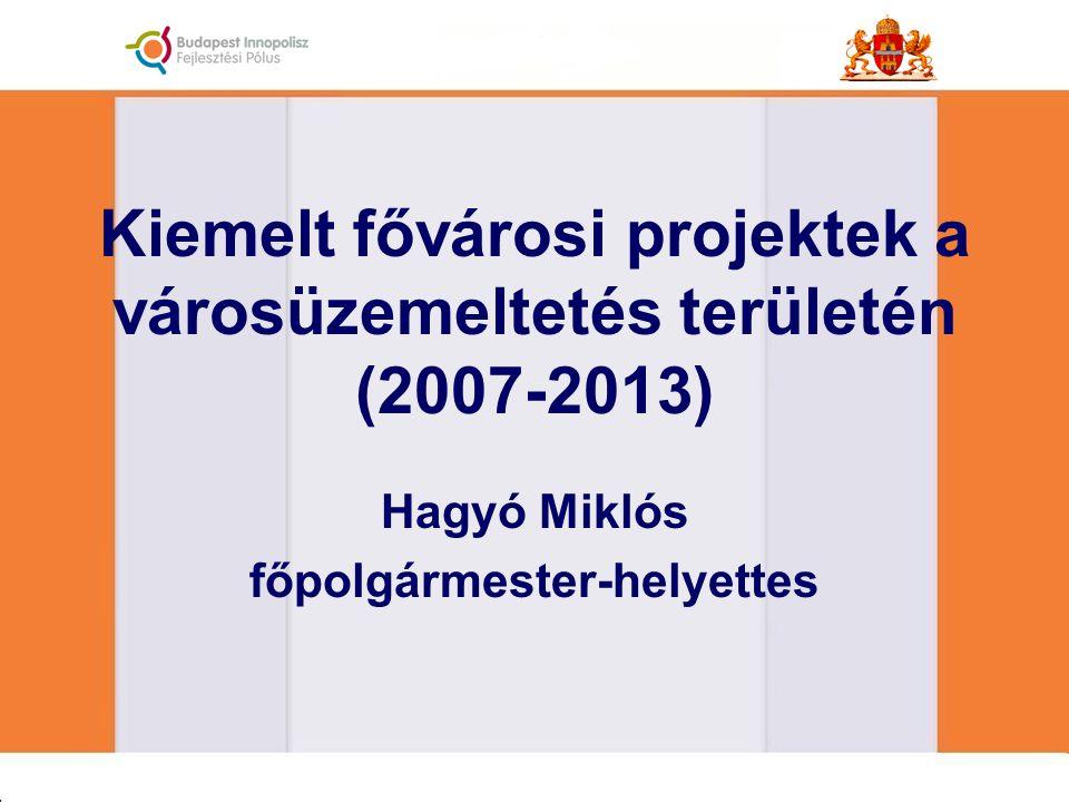 Kiemelt fővárosi projektek a városüzemeltetés területén (2007-2013) Hagyó Miklós főpolgármester-helyettes