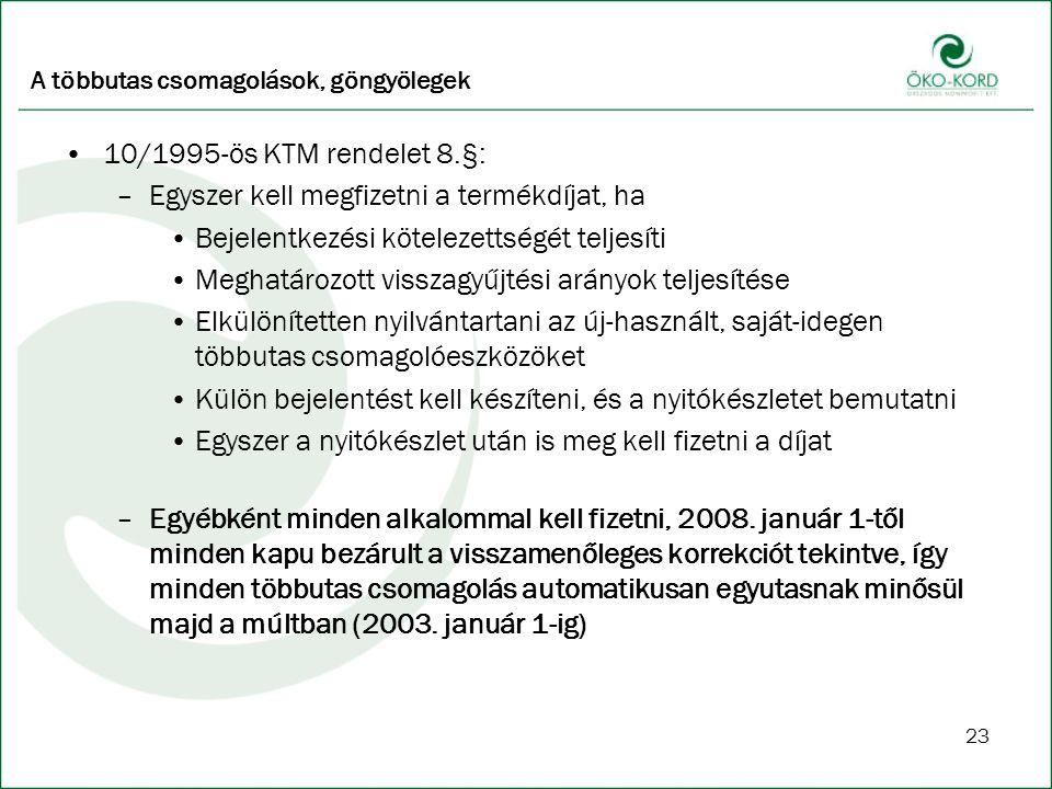23 A többutas csomagolások, göngyölegek 10/1995-ös KTM rendelet 8.§: –Egyszer kell megfizetni a termékdíjat, ha Bejelentkezési kötelezettségét teljesíti Meghatározott visszagyűjtési arányok teljesítése Elkülönítetten nyilvántartani az új-használt, saját-idegen többutas csomagolóeszközöket Külön bejelentést kell készíteni, és a nyitókészletet bemutatni Egyszer a nyitókészlet után is meg kell fizetni a díjat –Egyébként minden alkalommal kell fizetni, 2008.