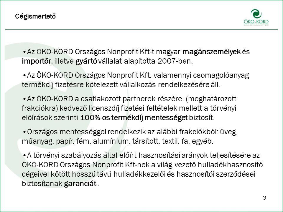 33 Cégismertető Az ÖKO-KORD Országos Nonprofit Kft-t magyar magánszemélyek és importőr, illetve gyártó vállalat alapította 2007-ben, Az ÖKO-KORD Országos Nonprofit Kft.