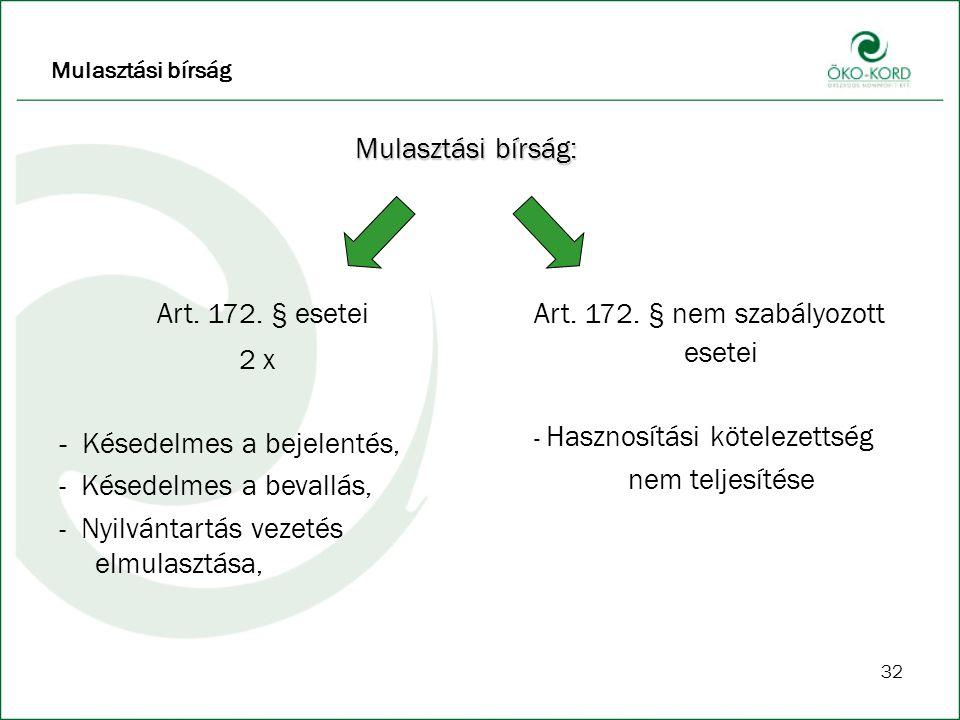 32 Mulasztási bírság: Art.172.
