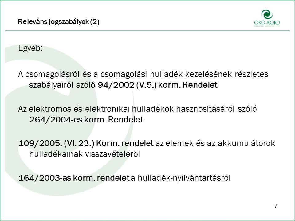 7 Releváns jogszabályok (2) Egyéb: A csomagolásról és a csomagolási hulladék kezelésének részletes szabályairól szóló 94/2002 (V.5.) korm.
