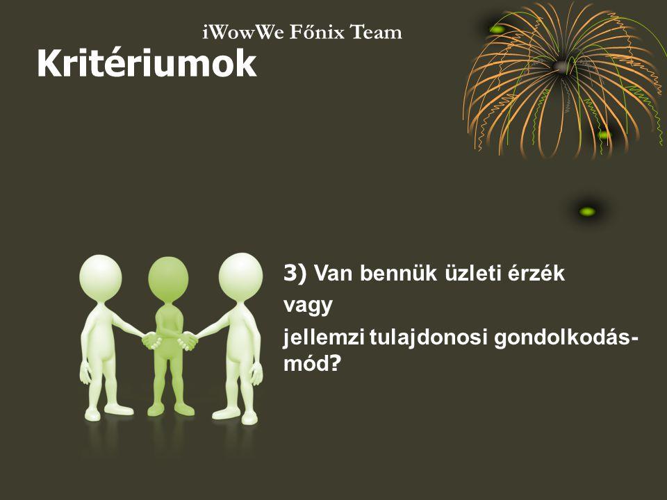 3) Van bennük üzleti érzék vagy jellemzi tulajdonosi gondolkodás- mód ? Kritériumok iWowWe Főnix Team