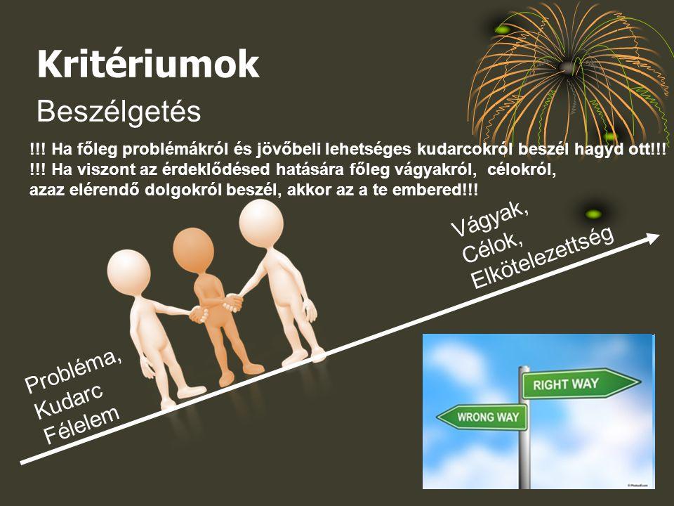 Kritériumok Beszélgetés Probléma, Kudarc Félelem Vágyak, Célok, Elkötelezettség !!.