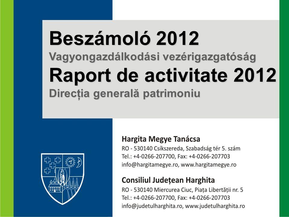 Beszámoló 2012 Vagyongazdálkodási vezérigazgatóság Raport de activitate 2012 Direcţia generală patrimoniu