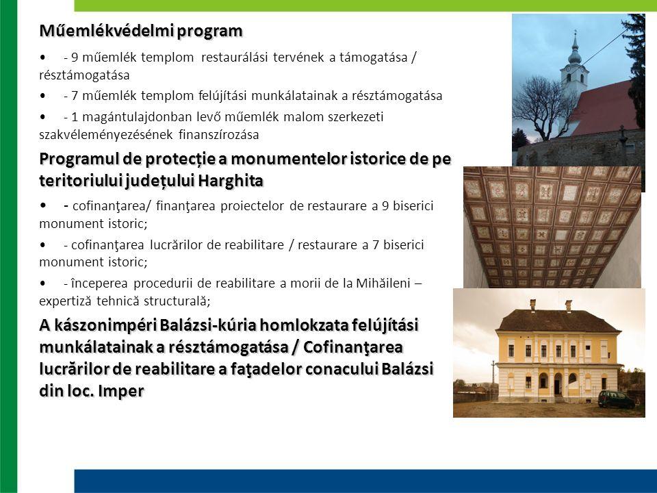 Műemlékvédelmi program - 9 műemlék templom restaurálási tervének a támogatása / résztámogatása - 7 műemlék templom felújítási munkálatainak a résztámo