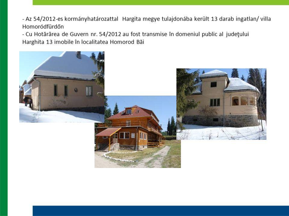 - Az 54/2012-es kormányhatározattal Hargita megye tulajdonába került 13 darab ingatlan/ villa Homoródfürdőn - Cu Hotărârea de Guvern nr. 54/2012 au fo