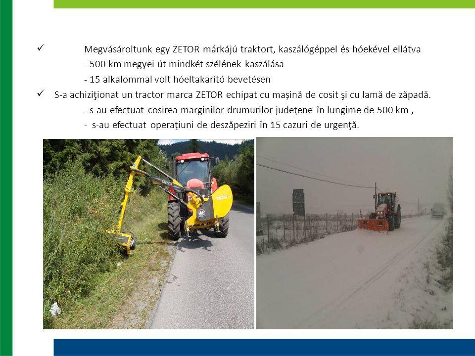 Megvásároltunk egy ZETOR márkájú traktort, kaszálógéppel és hóekével ellátva - 500 km megyei út mindkét szélének kaszálása - 15 alkalommal volt hóeltakarító bevetésen S-a achiziţionat un tractor marca ZETOR echipat cu mașină de cosit şi cu lamă de zăpadă.