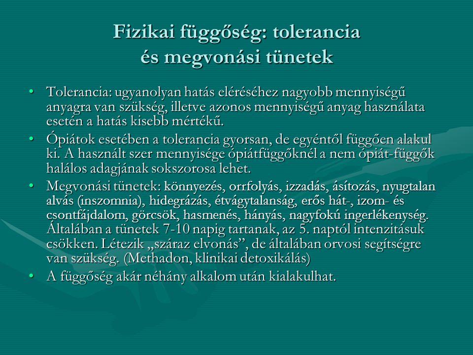 Fizikai függőség: tolerancia és megvonási tünetek Tolerancia: ugyanolyan hatás eléréséhez nagyobb mennyiségű anyagra van szükség, illetve azonos menny