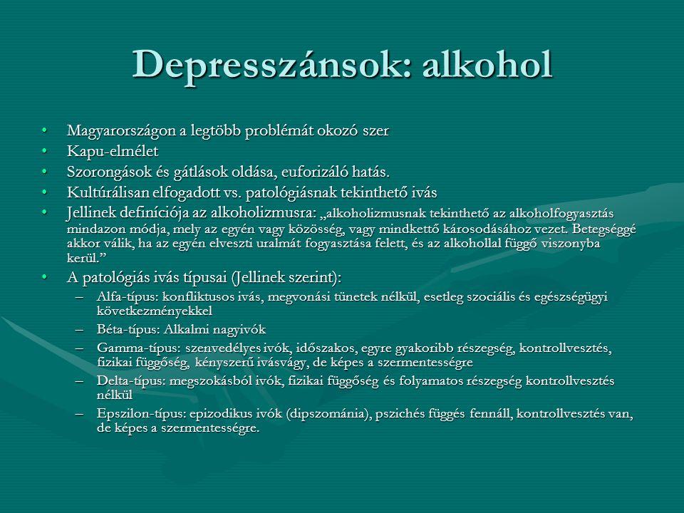 Depresszánsok: alkohol Magyarországon a legtöbb problémát okozó szerMagyarországon a legtöbb problémát okozó szer Kapu-elméletKapu-elmélet Szorongások