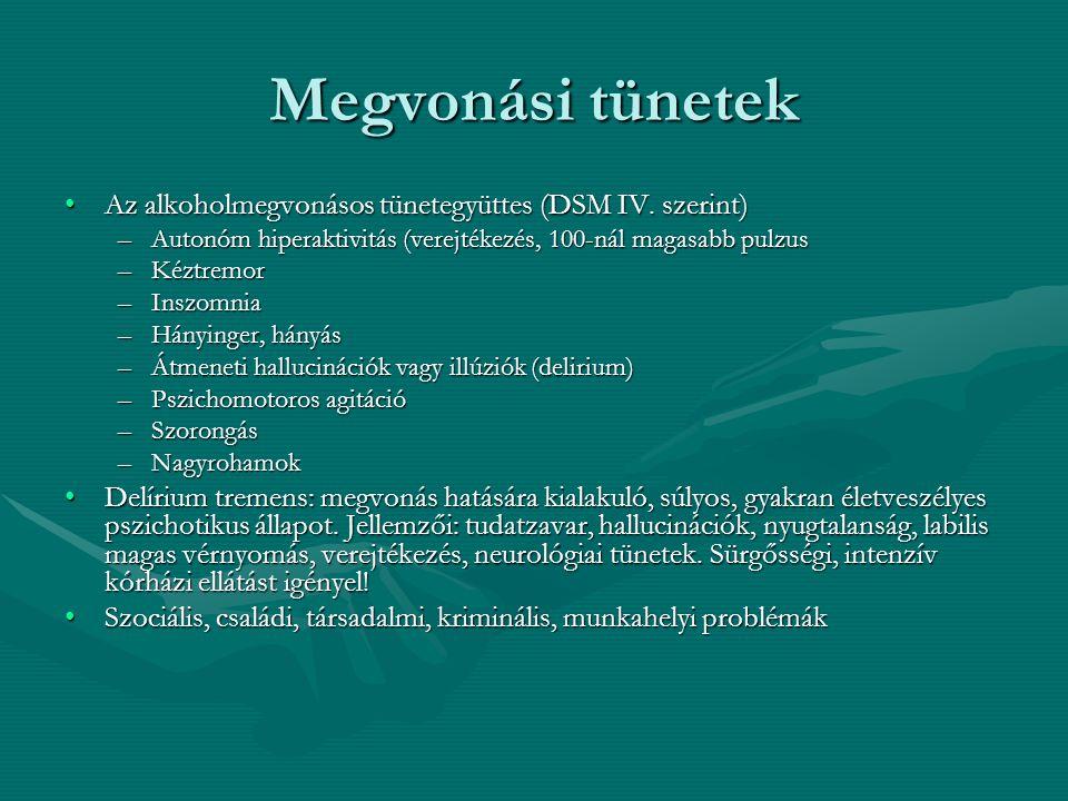 Megvonási tünetek Az alkoholmegvonásos tünetegyüttes (DSM IV. szerint)Az alkoholmegvonásos tünetegyüttes (DSM IV. szerint) –Autonóm hiperaktivitás (ve