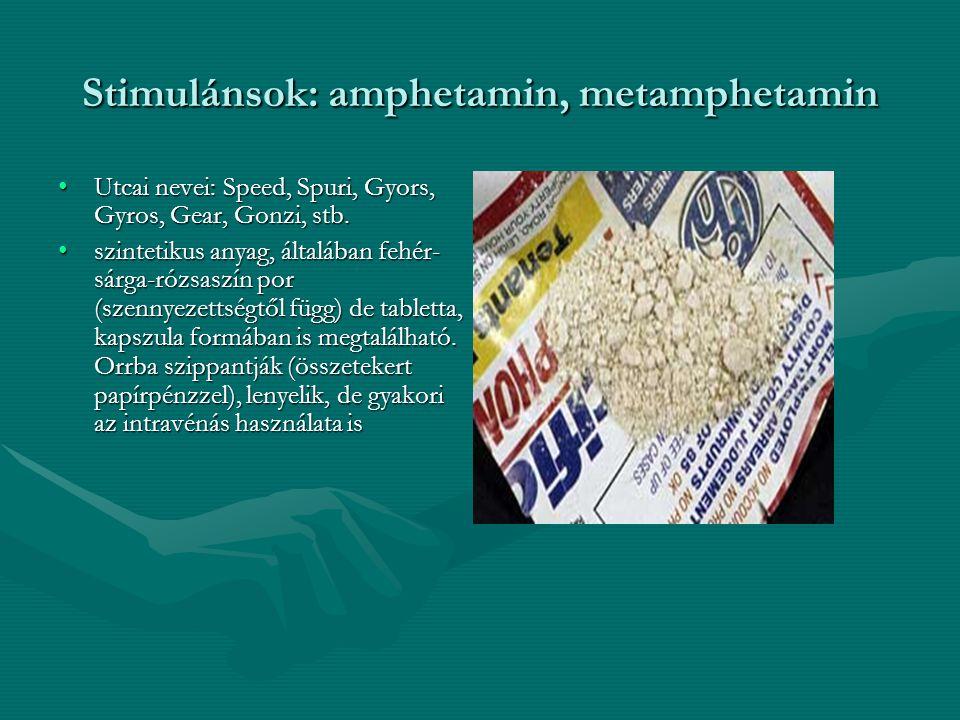 Stimulánsok: amphetamin, metamphetamin Utcai nevei: Speed, Spuri, Gyors, Gyros, Gear, Gonzi, stb.Utcai nevei: Speed, Spuri, Gyors, Gyros, Gear, Gonzi,