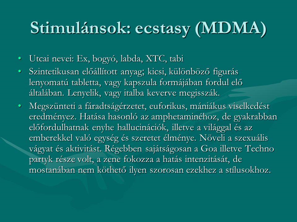 Stimulánsok: ecstasy (MDMA) Utcai nevei: Ex, bogyó, labda, XTC, tabiUtcai nevei: Ex, bogyó, labda, XTC, tabi Szintetikusan előállított anyag  kicsi,