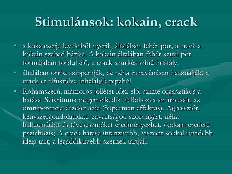 Stimulánsok: kokain, crack a koka cserje leveleiből nyerik, általában fehér por  a crack a kokain szabad bázisa. A kokain általában fehér színű por f