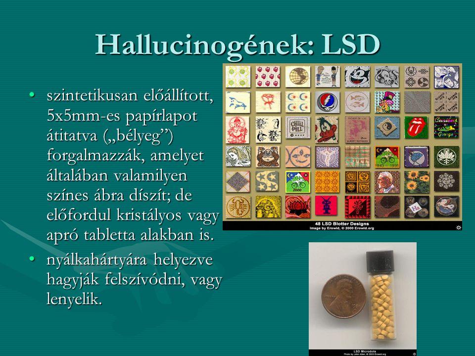 """Hallucinogének: LSD szintetikusan előállított, 5x5mm-es papírlapot átitatva (""""bélyeg"""") forgalmazzák, amelyet általában valamilyen színes ábra díszít;"""