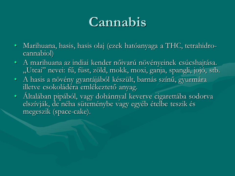 Cannabis Marihuana, hasis, hasis olaj (ezek hatóanyaga a THC, tetrahidro- cannabiol)Marihuana, hasis, hasis olaj (ezek hatóanyaga a THC, tetrahidro- c