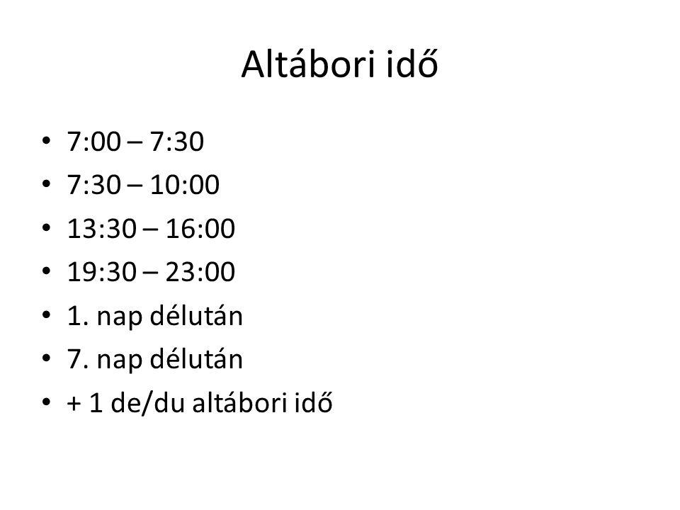Altábori idő 7:00 – 7:30 7:30 – 10:00 13:30 – 16:00 19:30 – 23:00 1. nap délután 7. nap délután + 1 de/du altábori idő