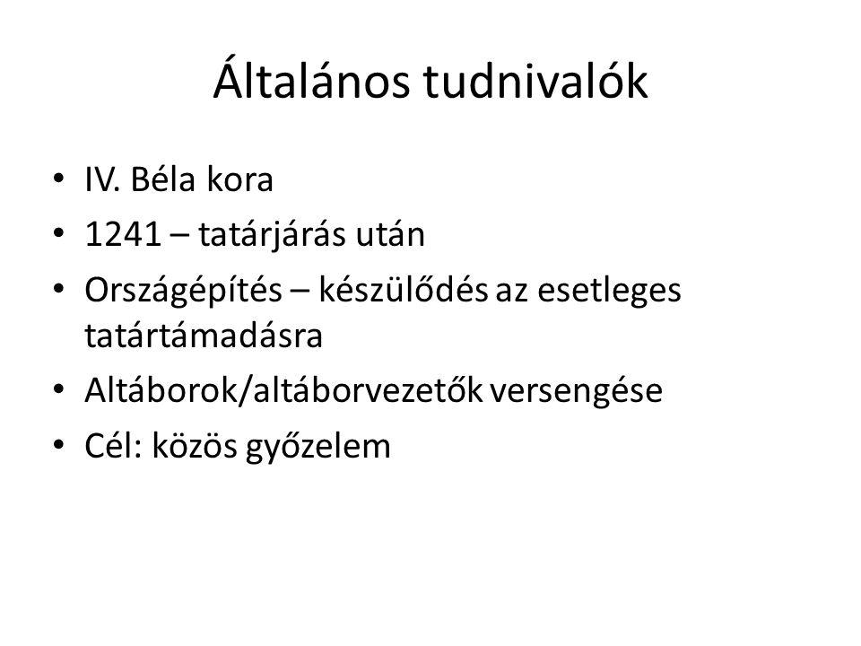 Általános tudnivalók IV. Béla kora 1241 – tatárjárás után Országépítés – készülődés az esetleges tatártámadásra Altáborok/altáborvezetők versengése Cé