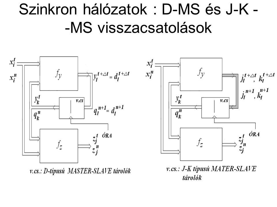 Szinkron hálózatok : D-MS és J-K - -MS visszacsatolások