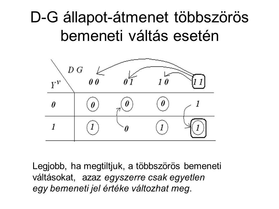 D-G állapot-átmenet többszörös bemeneti váltás esetén Legjobb, ha megtiltjuk, a többszörös bemeneti váltásokat, azaz egyszerre csak egyetlen egy bemen