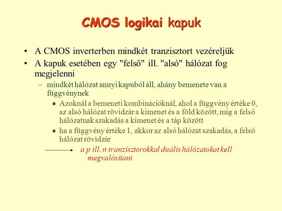 CMOS logikai kapuk A CMOS inverterben mindkét tranzisztort vezéreljük A kapuk esetében egy