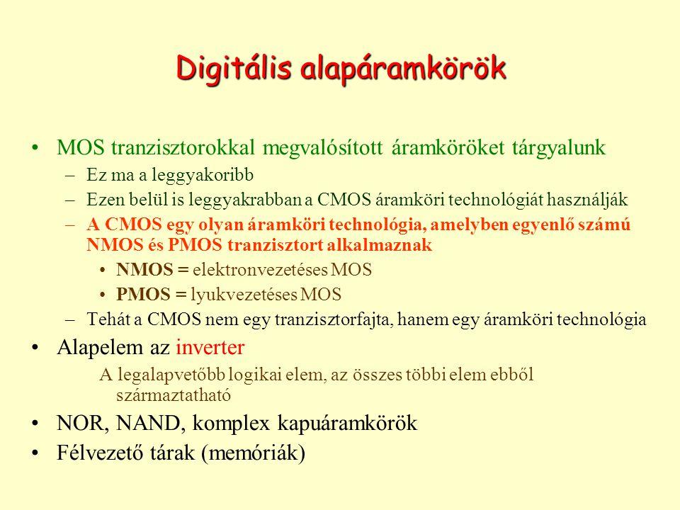 Digitális alapáramkörök MOS tranzisztorokkal megvalósított áramköröket tárgyalunk –Ez ma a leggyakoribb –Ezen belül is leggyakrabban a CMOS áramköri technológiát használják –A CMOS egy olyan áramköri technológia, amelyben egyenlő számú NMOS és PMOS tranzisztort alkalmaznak NMOS = elektronvezetéses MOS PMOS = lyukvezetéses MOS –Tehát a CMOS nem egy tranzisztorfajta, hanem egy áramköri technológia Alapelem az inverter A legalapvetőbb logikai elem, az összes többi elem ebből származtatható NOR, NAND, komplex kapuáramkörök Félvezető tárak (memóriák)