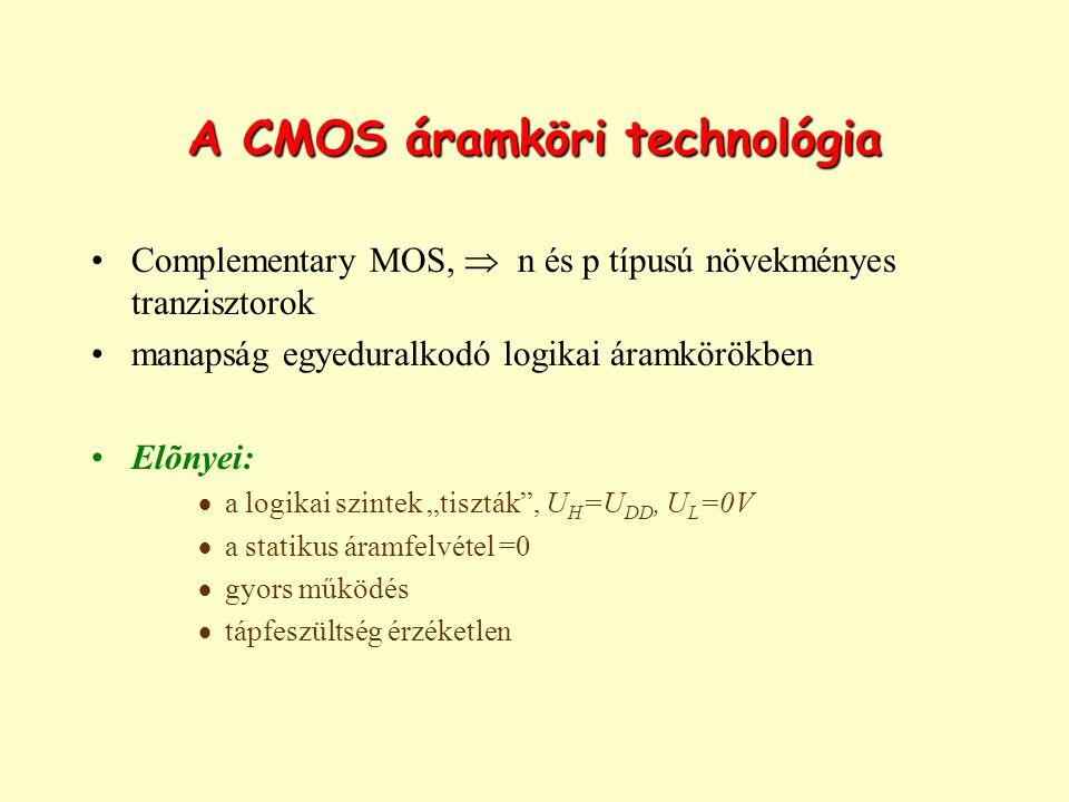 """A CMOS áramköri technológia Complementary MOS,  n és p típusú növekményes tranzisztorok manapság egyeduralkodó logikai áramkörökben Elõnyei:  a logikai szintek """"tiszták , U H =U DD, U L =0V  a statikus áramfelvétel =0  gyors működés  tápfeszültség érzéketlen"""