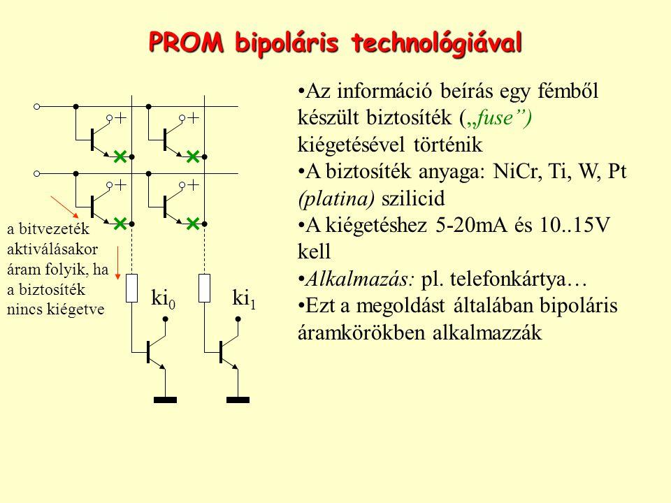 """PROM bipoláris technológiával Az információ beírás egy fémből készült biztosíték (""""fuse"""") kiégetésével történik A biztosíték anyaga: NiCr, Ti, W, Pt ("""