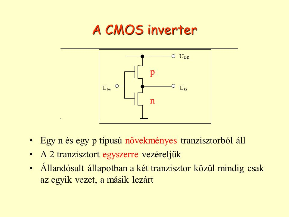 A CMOS inverter Egy n és egy p típusú növekményes tranzisztorból áll A 2 tranzisztort egyszerre vezéreljük Állandósult állapotban a két tranzisztor kö