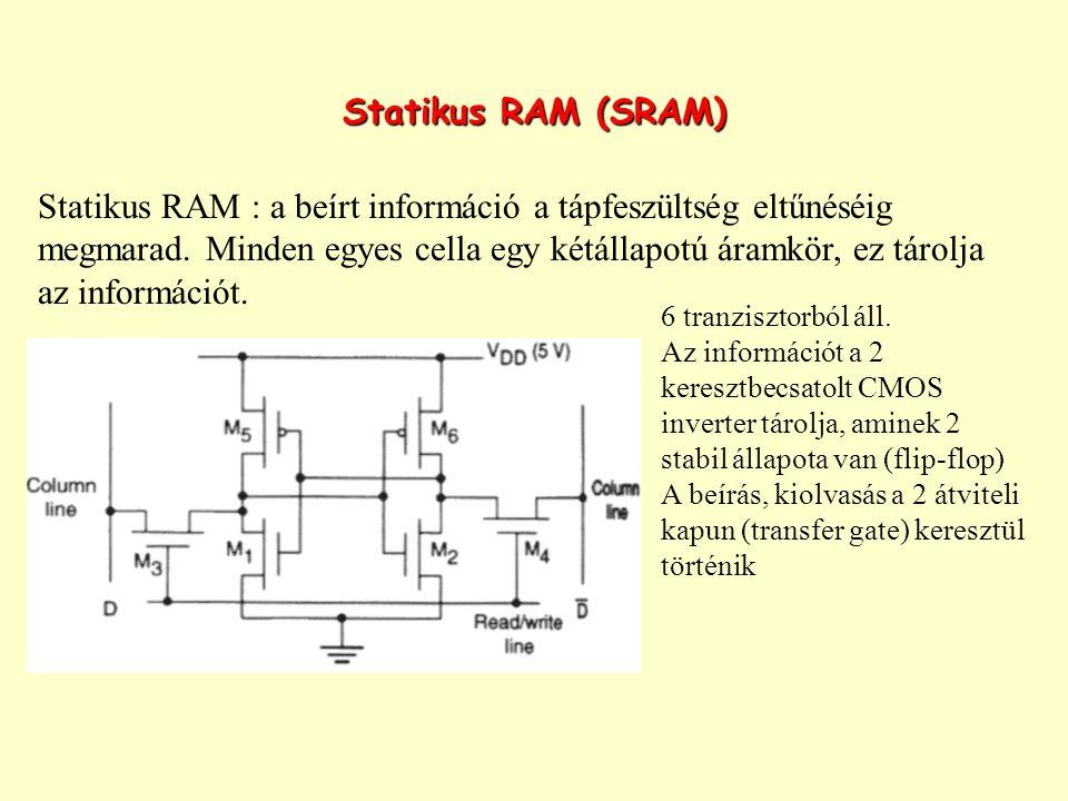 Statikus RAM (SRAM) Statikus RAM : a beírt információ a tápfeszültség eltűnéséig megmarad. Minden egyes cella egy kétállapotú áramkör, ez tárolja az i