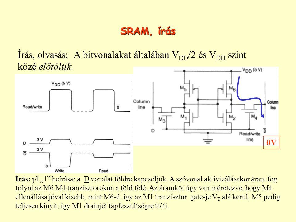 SRAM, írás Írás, olvasás: A bitvonalakat általában V DD /2 és V DD szint közé előtöltik.