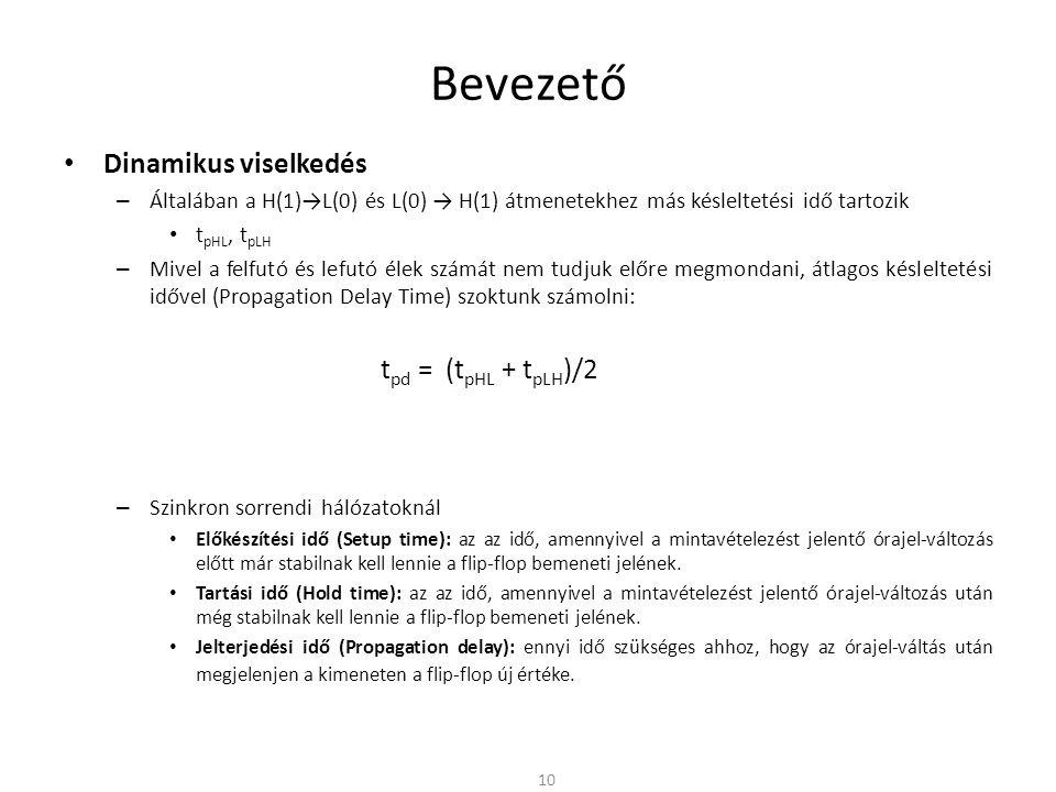 Bevezető Dinamikus viselkedés – Általában a H(1)→L(0) és L(0) → H(1) átmenetekhez más késleltetési idő tartozik t pHL, t pLH – Mivel a felfutó és lefu