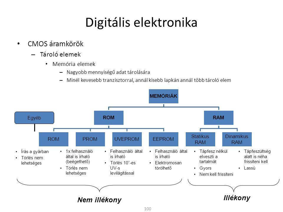 Digitális elektronika CMOS áramkörök – Tároló elemek Memória elemek – Nagyobb mennyiségű adat tárolására – Minél kevesebb tranzisztorral, annál kisebb