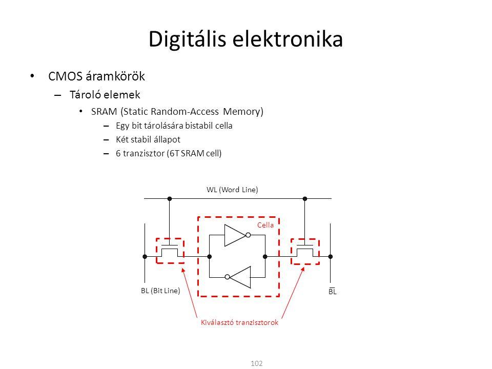 Digitális elektronika CMOS áramkörök – Tároló elemek SRAM (Static Random-Access Memory) – Egy bit tárolására bistabil cella – Két stabil állapot – 6 t