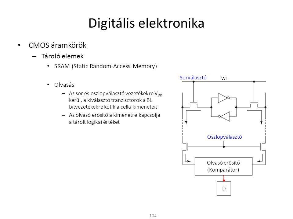 Digitális elektronika CMOS áramkörök – Tároló elemek SRAM (Static Random-Access Memory) Olvasás – Az sor és oszlopválasztó vezetékekre V DD kerül, a k