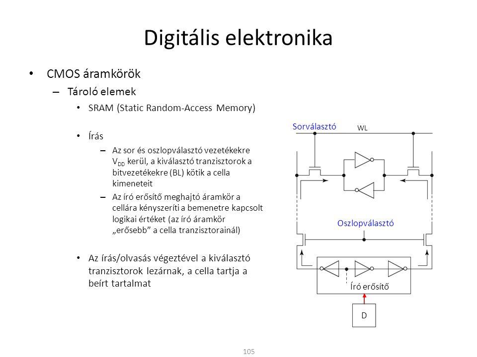 Digitális elektronika CMOS áramkörök – Tároló elemek SRAM (Static Random-Access Memory) Írás – Az sor és oszlopválasztó vezetékekre V DD kerül, a kivá