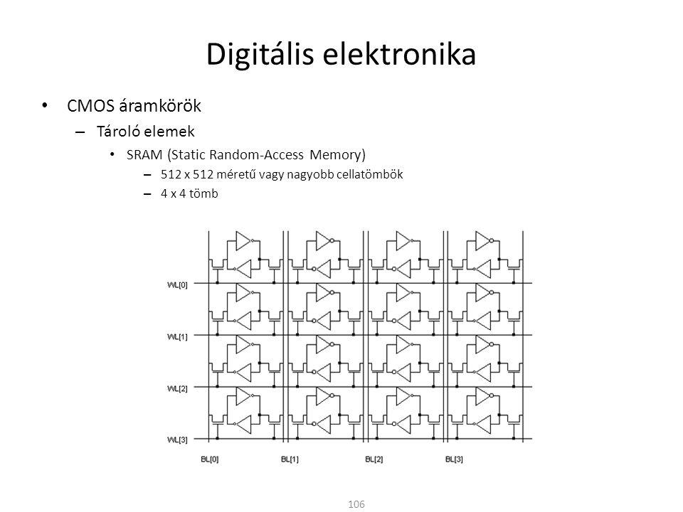 Digitális elektronika CMOS áramkörök – Tároló elemek SRAM (Static Random-Access Memory) – 512 x 512 méretű vagy nagyobb cellatömbök – 4 x 4 tömb 106