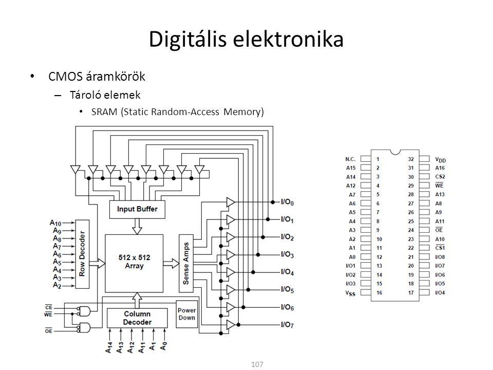 Digitális elektronika CMOS áramkörök – Tároló elemek DRAM (Dynamic Random-Access Memory) – A legegyszerűbb tárolóelem a kondenzátor (kapacitás) – Jól illeszthető a CMOS technológiához 108 WL BL