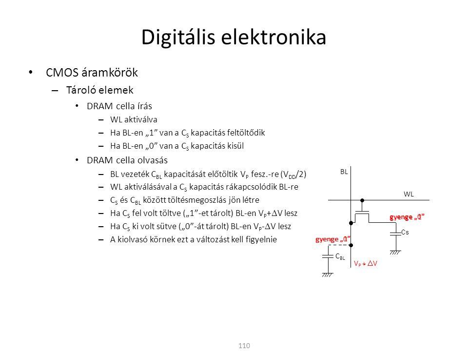 """Digitális elektronika CMOS áramkörök – Tároló elemek DRAM cella írás – WL aktiválva – Ha BL-en """"1 van a C S kapacitás feltöltődik – Ha BL-en """"0 van a C S kapacitás kisül DRAM cella olvasás – BL vezeték C BL kapacitását előtöltik V P fesz.-re (V DD /2) – WL aktiválásával a C S kapacitás rákapcsolódik BL-re – C S és C BL között töltésmegoszlás jön létre – Ha C S fel volt töltve (""""1 -et tárolt) BL-en V P +  V lesz – Ha C S ki volt sütve (""""0 -át tárolt) BL-en V P -  V lesz – A kiolvasó körnek ezt a változást kell figyelnie DRAM cella tartás – Az olvasás a tárolt logikai értéket """"tönkreteszi – Olvasás után vissza kell írni a kiolvasott adatot – C S –ből a töltések a lezárt tranzisztoron keresztül a szivárgási áram miatt idővel eltűnnek – Adott időközönként a DRAM cellákat frissíteni kell 111 WL BL"""