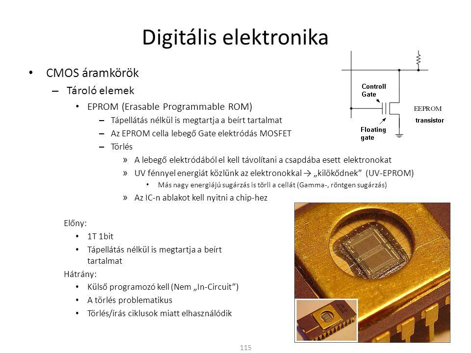"""Digitális elektronika CMOS áramkörök – Tároló elemek EEPROM (Electronically Erasable Programmable ROM) – Elektromosan törölhető – Az UV-EPROM kis módosításával az """"alagút effektus visszafelé is működik » Az elvékonyított szigetelő rétegen (~10nm) az elektronok eltávolíthatók a lebegő elektródából – A magasabb programozó- és törlő-feszültséget saját maga előállítja – Soros hozzáférés (I 2 C, SPI) » Kis lábszám, kis fizikai méret, lassabb hozzáférés – Párhuzamos hozzáférés » Nagyobb tárolókapacitás, gyorsabb hozzáférés 116"""