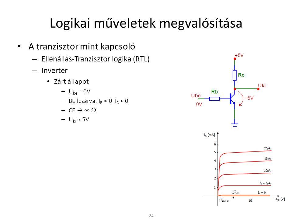 Logikai műveletek megvalósítása A tranzisztor mint kapcsoló – Ellenállás-Tranzisztor logika (RTL) – Inverter Zárt állapot – U be = 0V – BE lezárva: I B ≈ 0 I C ≈ 0 – CE → ∞  – U ki ≈ 5V Nyitott állapot – BE nyitóirányban: U be = 5V – BE és CE kinyit, a tranzisztor vezet – U CE ≈ n∙100mV → nem ideális kapcsoló – CE kis ellenállást képvisel: U ki ≈ 0V 25 5V ~n∙100mV
